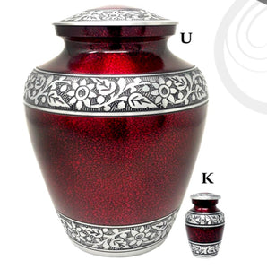 Elite Cloud Crimson and Silver Cremation Urn - IUAL177