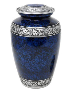 Classic Forest Blue with Silver Bands Cremation Urn - IUAL189
