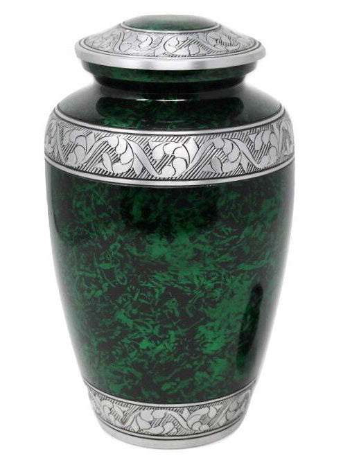 Classic Forest Green with Silver Bands Cremation Urn - IUAL190