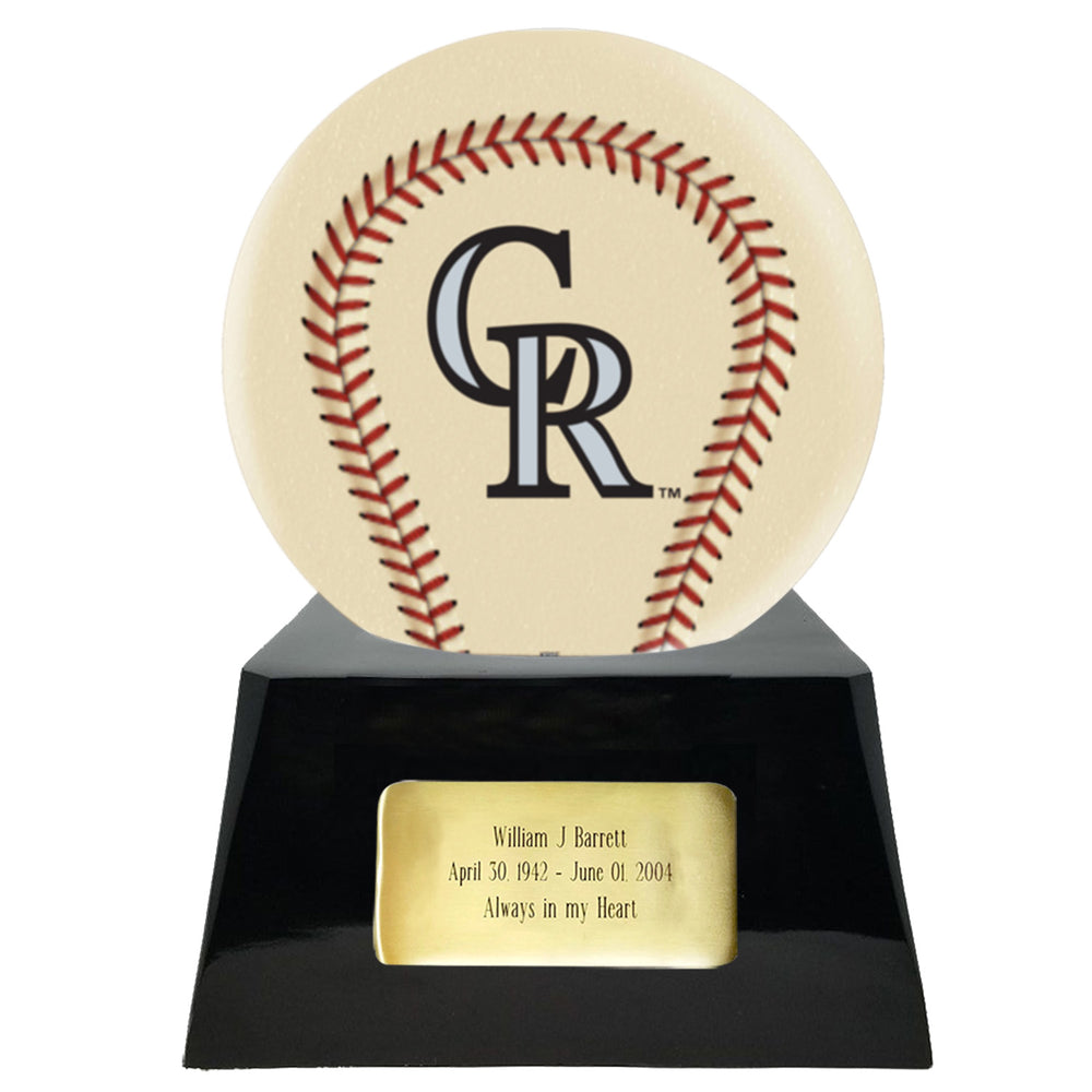 Ivory Baseball Trophy Urn Base with Optional Colorado Rockies Team Sphere