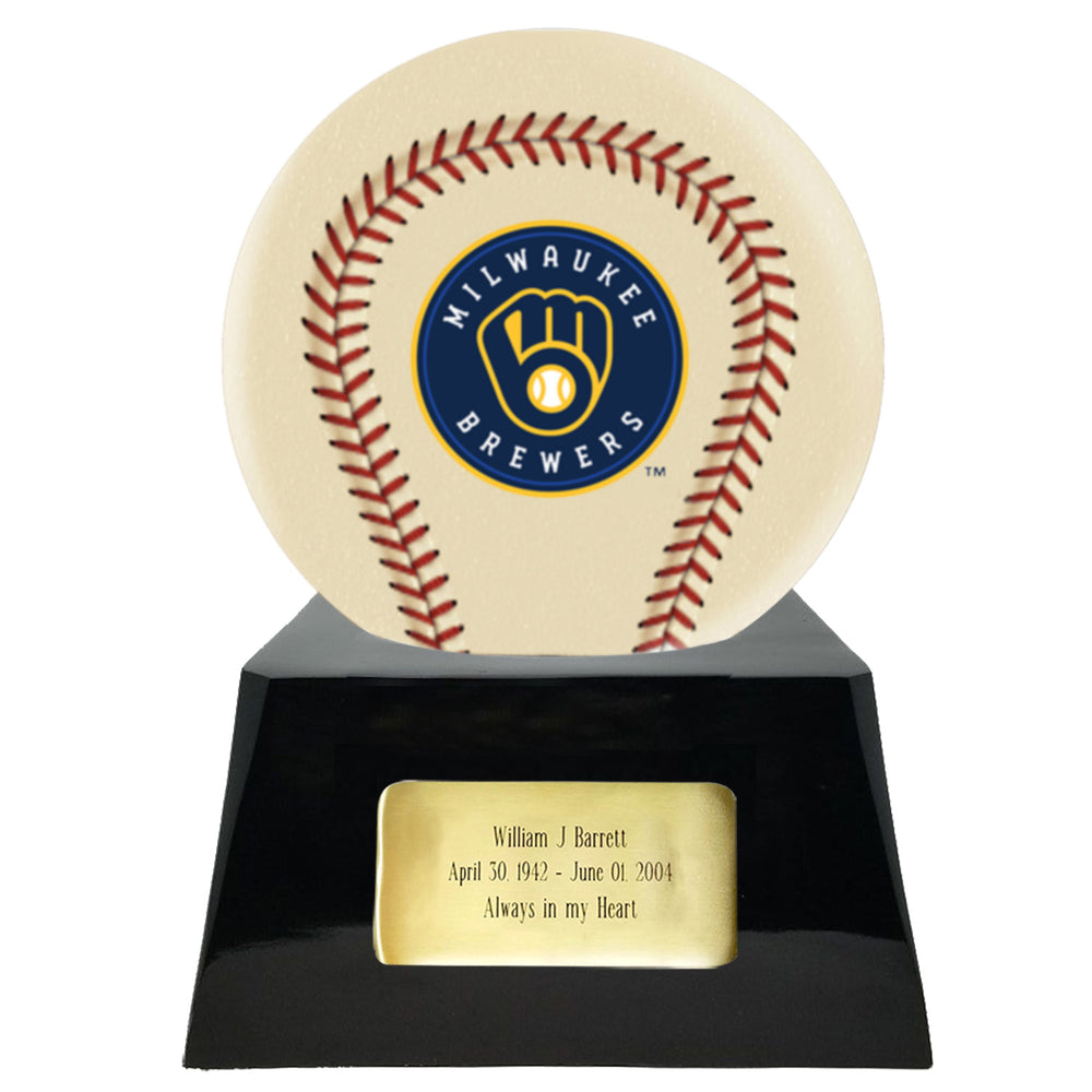 Ivory Baseball Trophy Urn Base with Optional Milwaukee Brewers Team Sphere