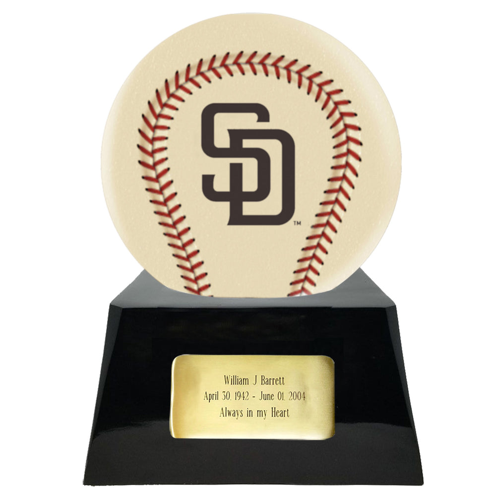 Ivory Baseball Trophy Urn Base with Optional San Diego Padres Team Sphere