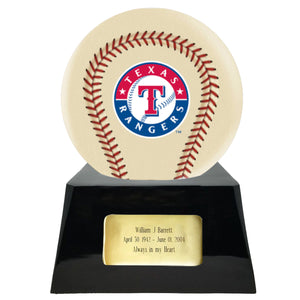 Ivory Baseball Trophy Urn Base with Optional Texas Rangers Team Sphere