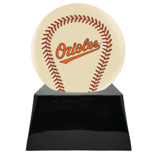Ivory Baseball Trophy Urn Base with Optional Baltimore Orioles Team Sphere