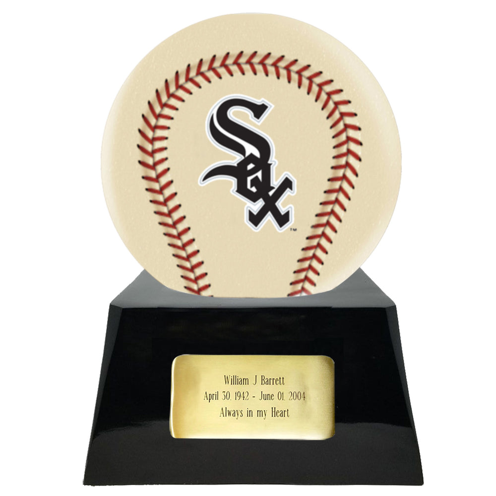Ivory Baseball Trophy Urn Base with Optional Chicago White Sox Team Sphere