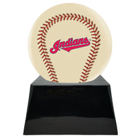 Ivory Baseball Trophy Urn Base with Optional Cleveland Indians Team Sphere