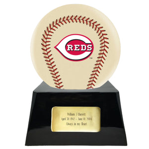 Ivory Baseball Trophy Urn Base with Optional Cincinnati Reds Team Sphere