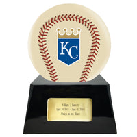 Ivory Baseball Trophy Urn Base with Optional Kansas City Royals Team Sphere