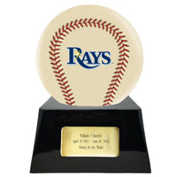 Ivory Baseball Trophy Urn Base with Optional Tampa Bay Rays Team Sphere