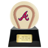 Ivory Baseball Trophy Urn Base with Optional Atlanta Braves Team Sphere