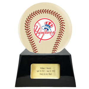 Ivory Baseball Trophy Urn Base with Optional New York Yankees Team Sphere