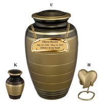 Gold and Black Cremation Urn - IUCL137-Gold