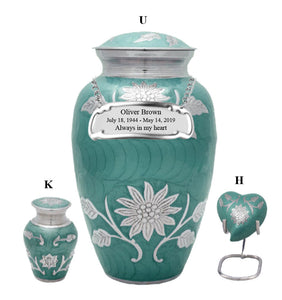 Teal Sunflower Cremation Urn - IUCL142