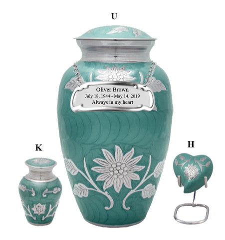 Teal Sunflower Cremation Urn- IUCL142