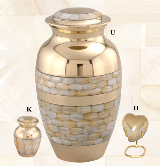 Classic Mother of Pearl Brass Cremation Urn - IUCL140