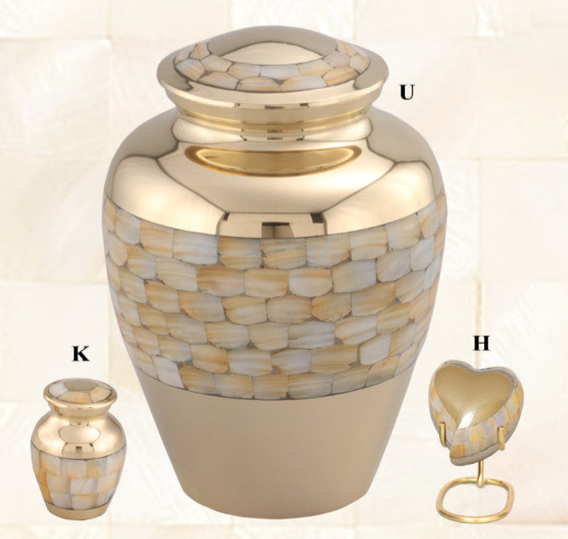 Elite Mother of Pearl Brass Cremation Urn - IUET116