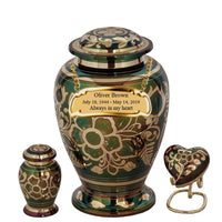 Floral Emerald Green Cremation Urn - IUET122