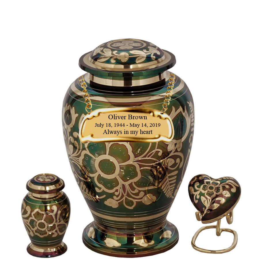 Floral Emerald Green Cremation Urn- IUET122
