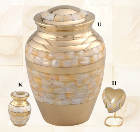 Adore Mother of Pearl Brass Cremation Urn- IUET128