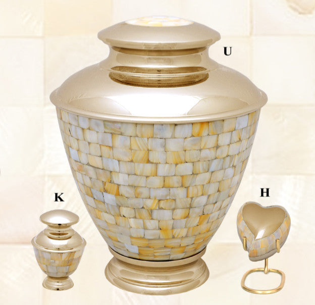 Elegance Mother of Pearl Brass Cremation Urn- IUET134