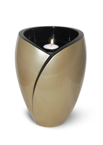 Tea Light Adult Fiber Glass Urn- Gold- IUFC101