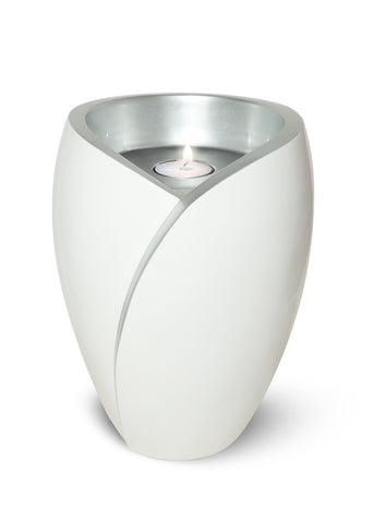 Tea Light Adult Fiber Glass Urn- White- IUFC103
