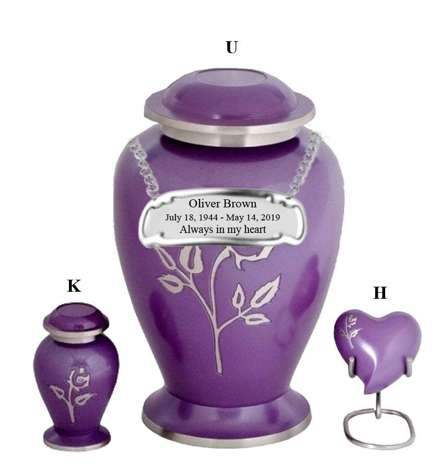 Purple Pearl Rose Cremation Urn - IUFH108