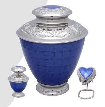 Elegance Pearl Blue Cremation Urn- IUFH123