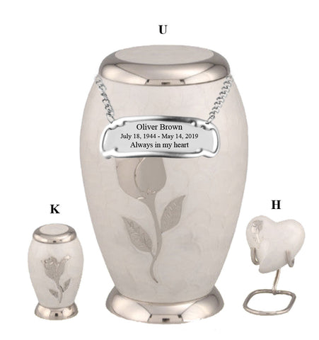 White Rose Flat Top Cremation Urn- IUFH126