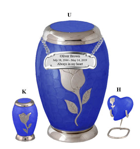 Blue Rose Flat Top Cremation Urn - IUFH128