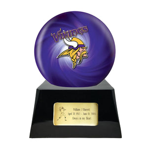 Football Trophy Urn Base with Optional Minnesota Vikings Team Sphere