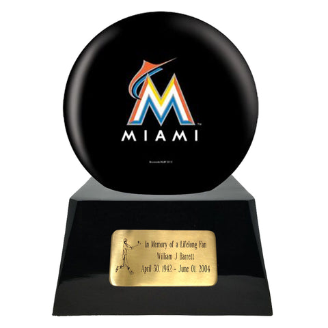 Baseball Trophy Urn Base and Miami Marlins Team Sphere