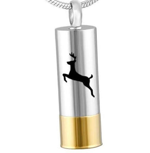 Two-Tone Deer Cylinder Pendant - IUPN197