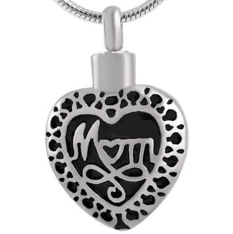 """Mom"" Engraved Heart Pendant - IUPN211"