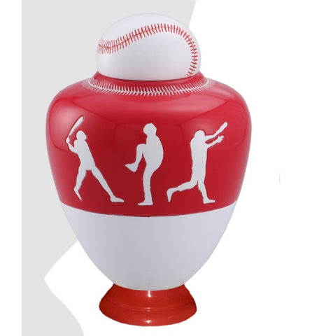 Infinity Baseball Team Cremation Urn - Red - IUSP110-R
