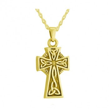 Gold Plated Silver Curvy Cross Jewelry- IUSPN111-G