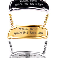 Customized Engraved Brass Name Tag - 3 Styles Gold, Pewter or Black