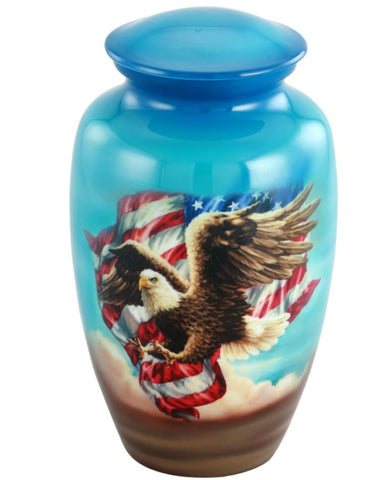 American Eagle and Flag Theme Cremation Urn - IUTM128