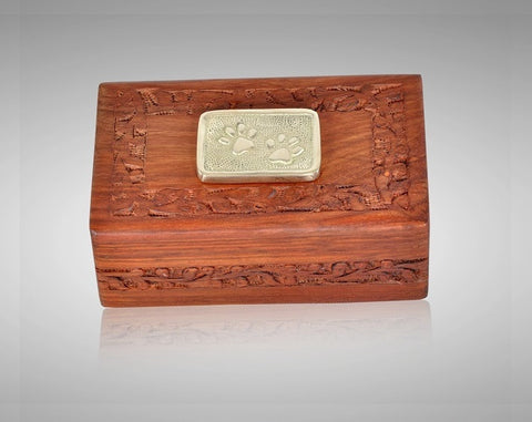 Solid Rosewood Hand Carved Cremation Urn with Brass Paw Applique- IUWD100