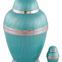 Ionic Cremation Urn with free keepsake - Turquoise - Overstock Deal