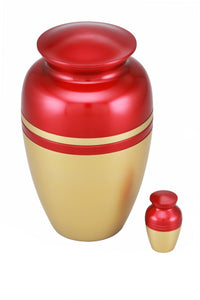 Classic Two Tone Cremation Urn with free keepsake - Red and Gold - Overstock Deal