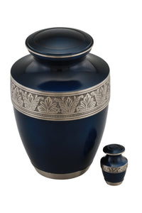 Augusta Cremation Urn with free keepsake -Blue - Overstock Deal