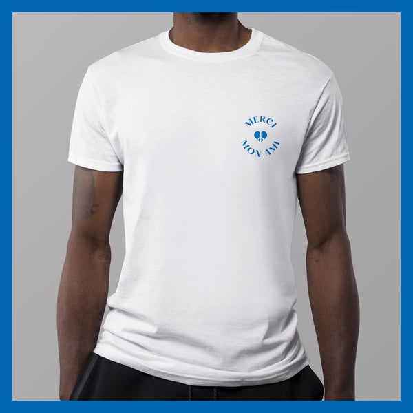 Merci Mon Ami Supportyourlocal T-Shirt white