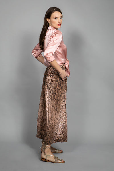 Marivie Shake it! Long Skirt python brown