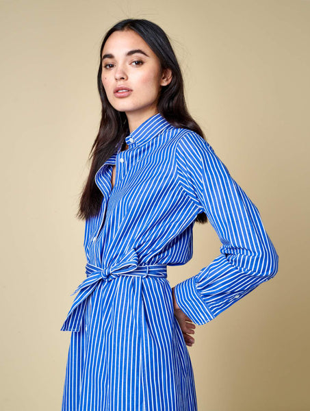Bellerose GEORGES01 Dress Bow blue white stripe A S0794