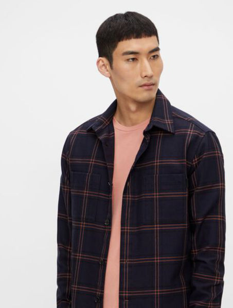 J.Lindeberg Structured Check Overshirt JL navy checked