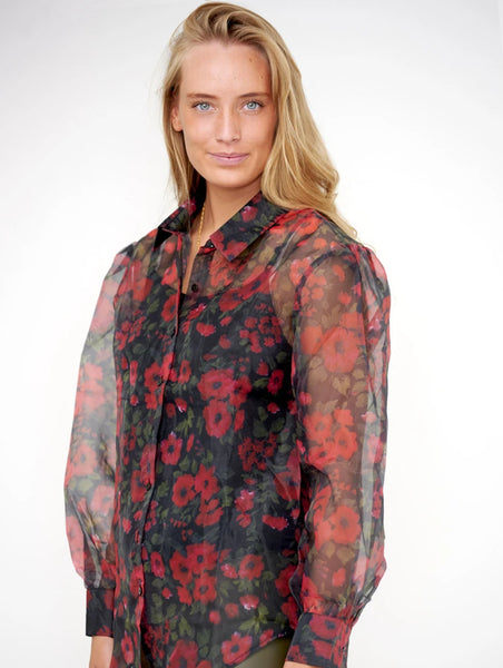 Noella Tate Shirt Blouse big red flower
