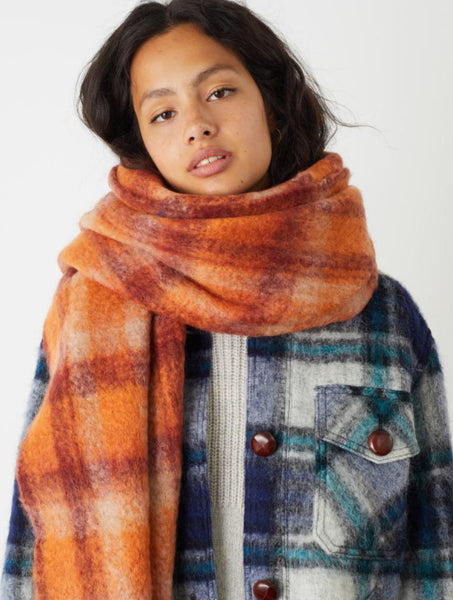 Leon & Harper Elliot Scarf check squirrel (orange / purple)