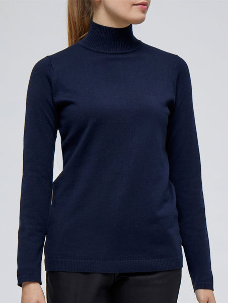 Minus Lana Roll Neck knitted Pullover black iris solid (navy)