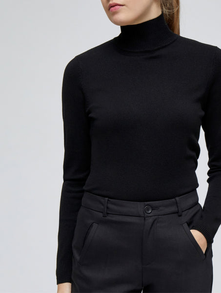 Minus Lana Roll Neck knitted Pullover black